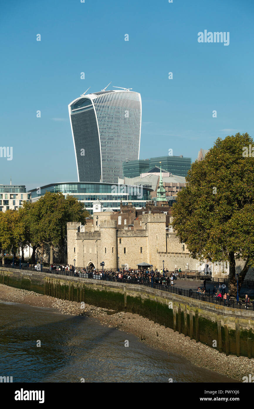 The Tower of London with the Walkie-Talkie Building at 20 Fenchurch Street in City of London England United Kingdom UK Stock Photo