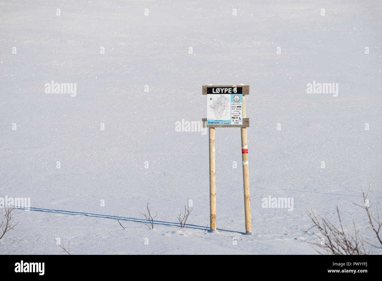 Snowmobile track sign, - Stock Image