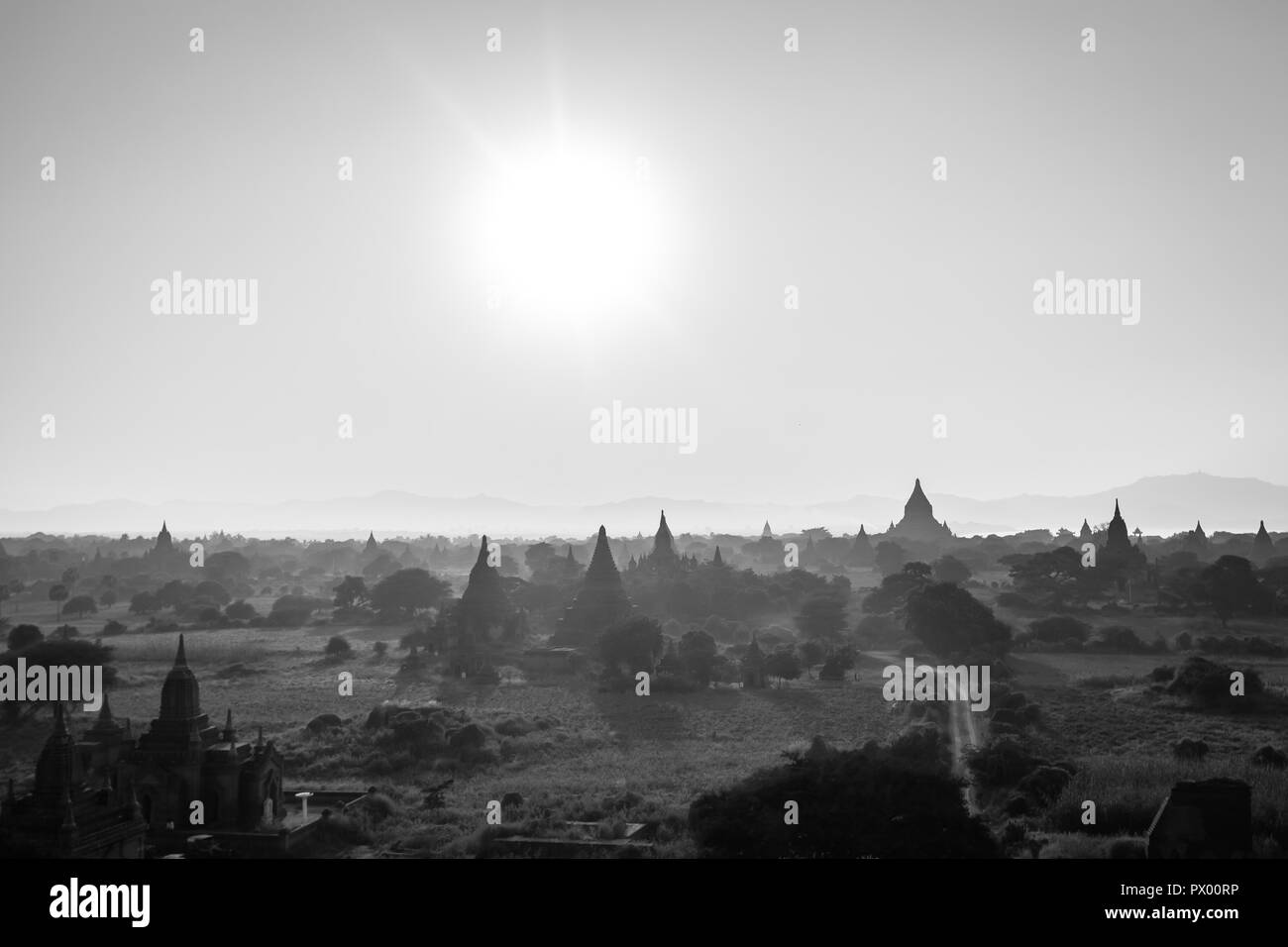 Panoramic view of Bagan stupas and temples, Myanmar - Stock Image