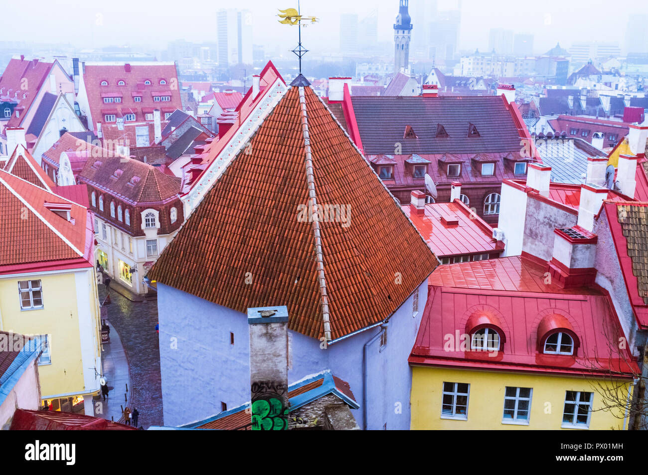 Tallinn, Estonia : High angle view of the roofs of the townhouses of the Old Town. - Stock Image