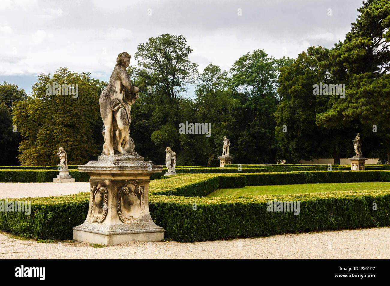 Statues at the gardens of Slavkov chateau, Austerlitz, Czech Republic - Stock Image