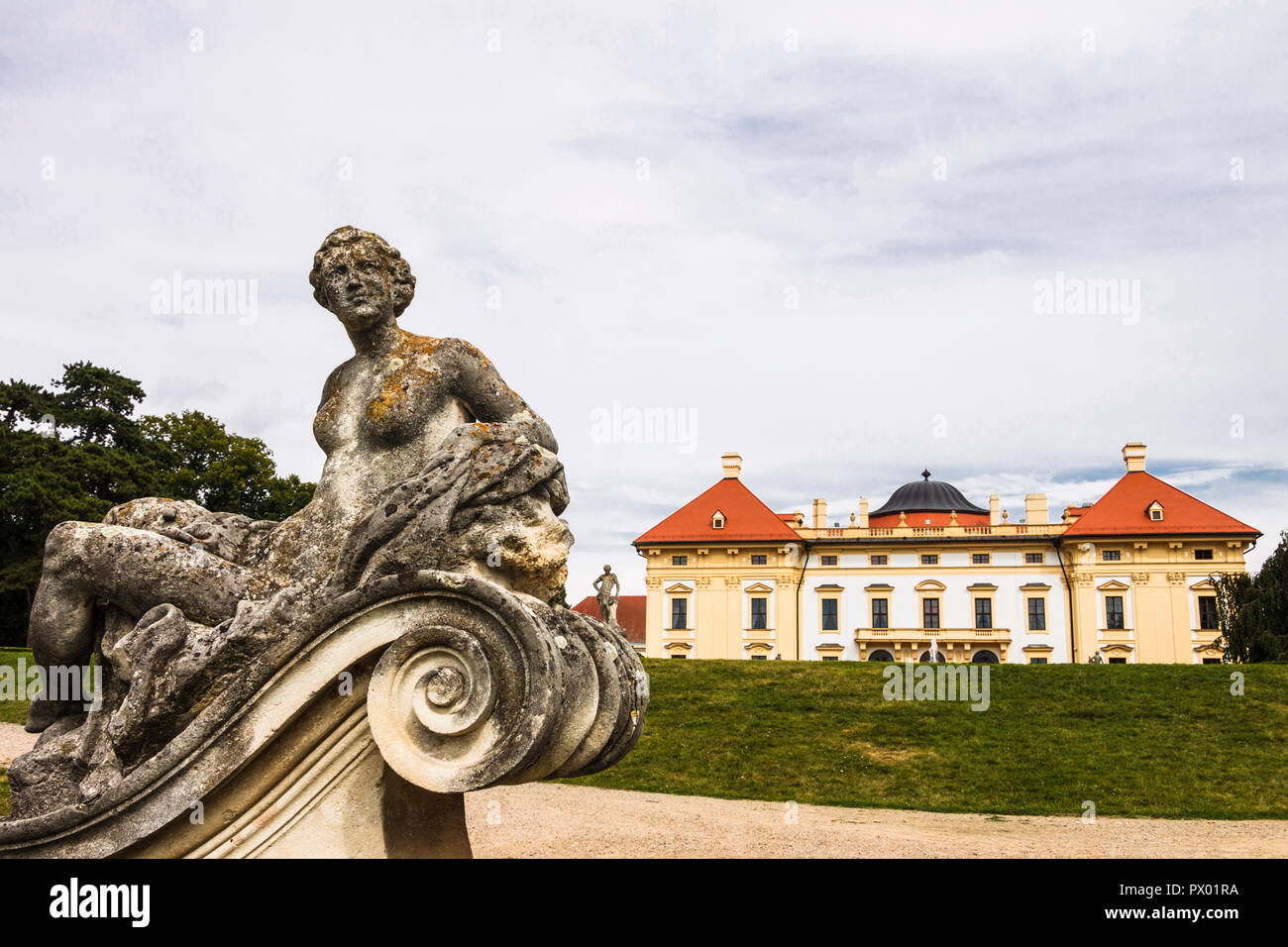 Castle and gardens at Slavkov chateau, Austerlitz, Czech Republic - Stock Image