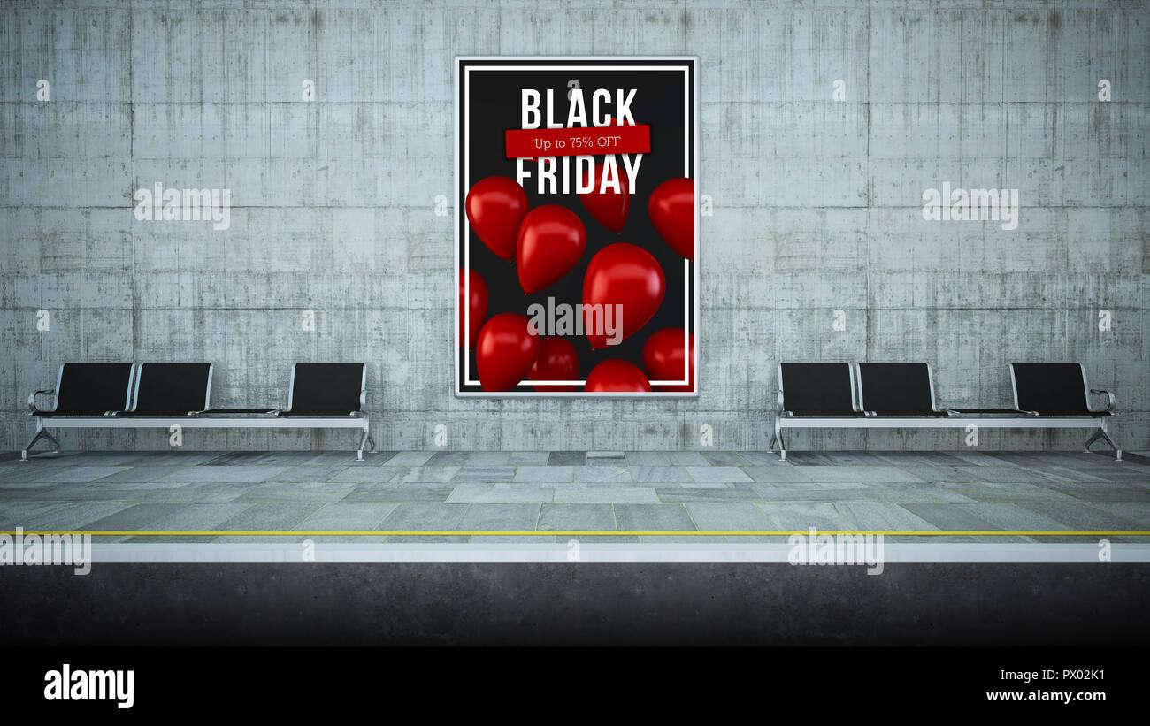 billboard poster on underground station 3d renderingblack friday - Stock Image