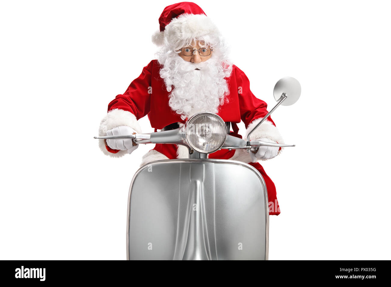 Santa Claus on a vintage scooter isolated on white background - Stock Image