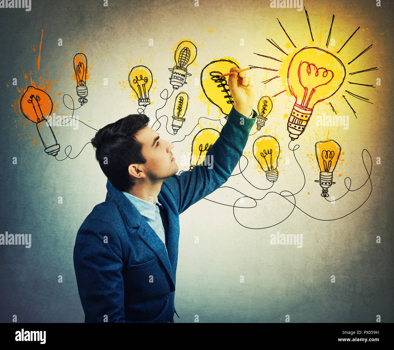 Thoughtful businessman drawing imaginative shining light bulbs. Different business thinking, genius creativity concept, alternative idea as the way to - Stock Image