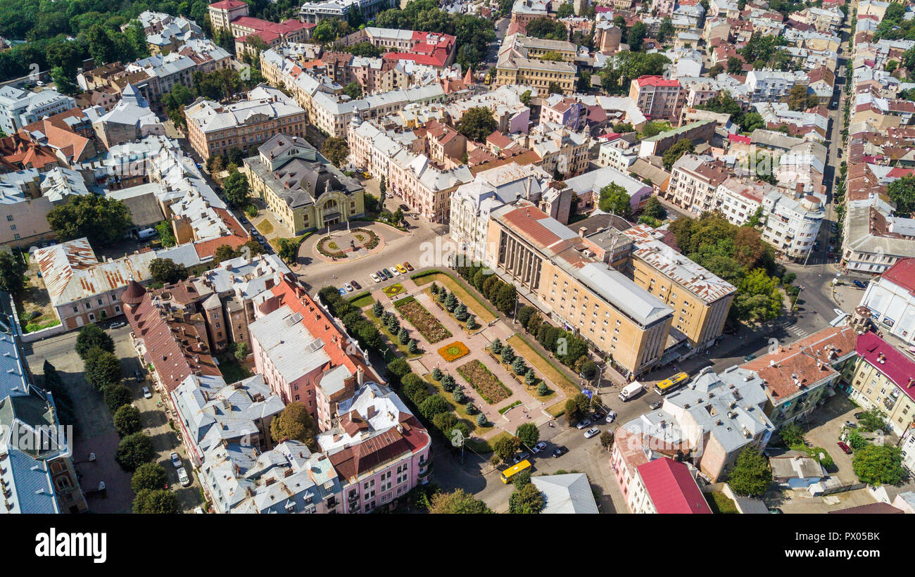 CHERNIVTSI, UKRAINE - April 2018: Chernivtsi city from above Western Ukraine. Sunny day of the city. - Stock Image