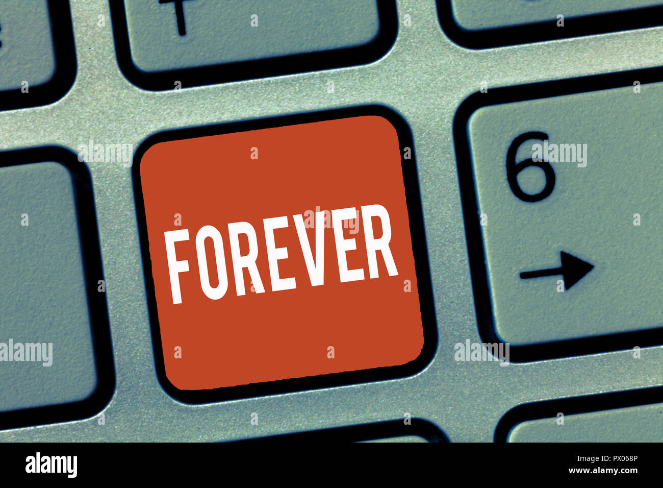 Conceptual hand writing showing Forever. Business photo showcasing Everlasting Peranalysisent Always for future time endless Eternal. - Stock Image