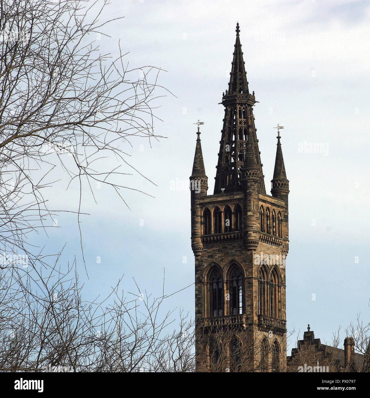 The iconic, gothic, bell tower of Glasgow University, in the west end, is one of the most recognizable landmarks in the city of Glasgow. - Stock Image
