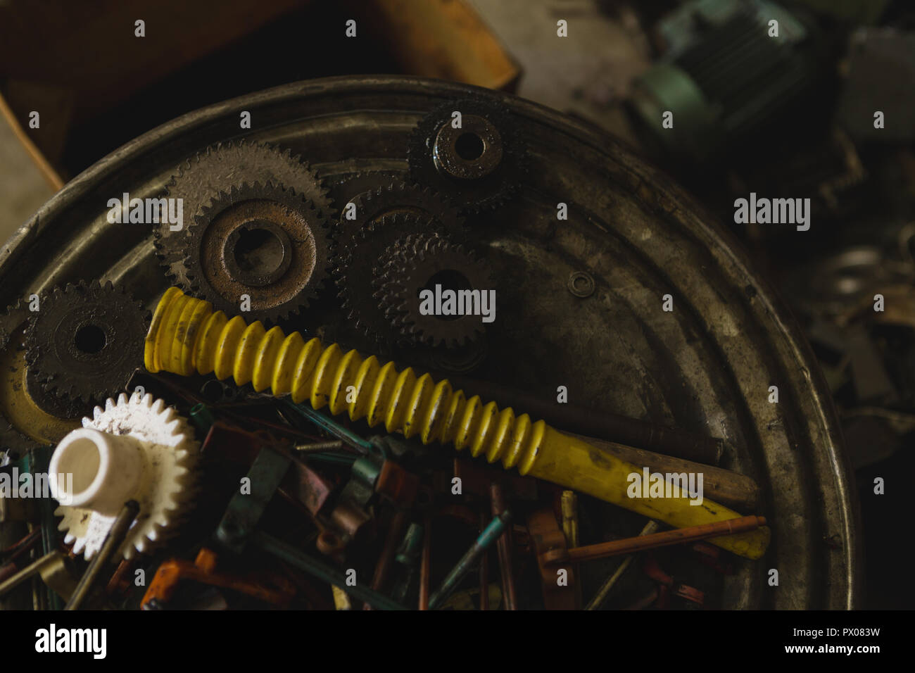 Machine parts in rope making industry Stock Photo