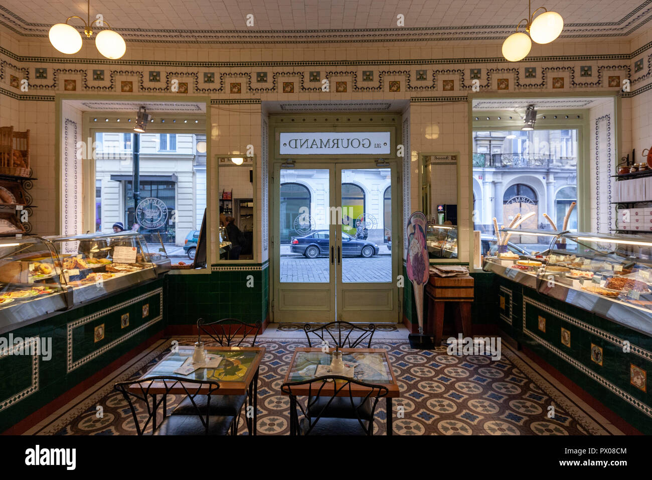Interior of the au Gourmand, Bohemian style deco, Bakeries in Dlouha 614/10, Prague, Czech Republic. - Stock Image