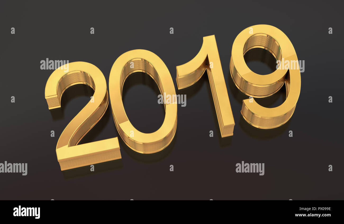 3D Gold Metal 2019 on Gray Background  Three-dimensional