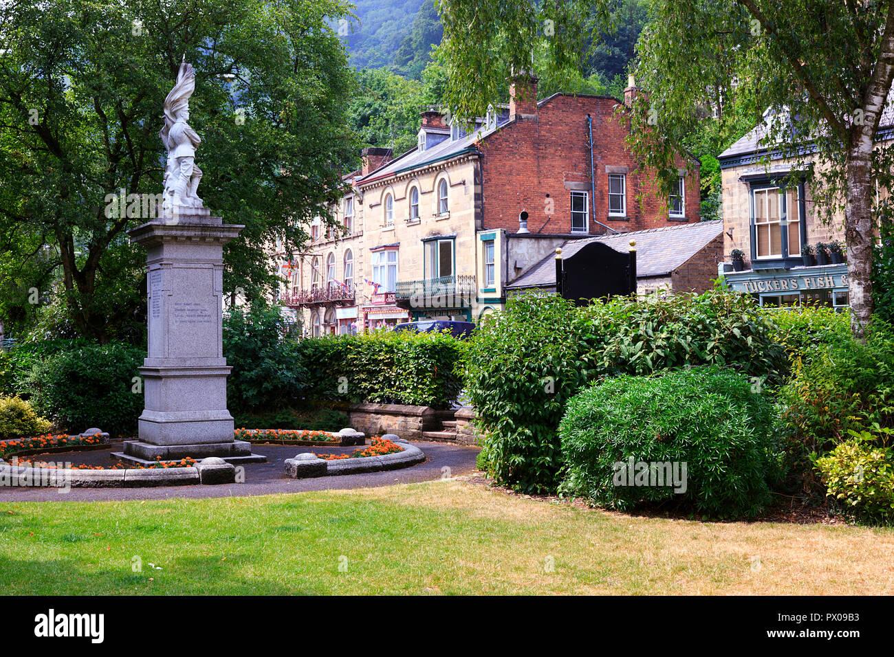War Memorial & gardens in Matlock Bath Derbyshire - Stock Image