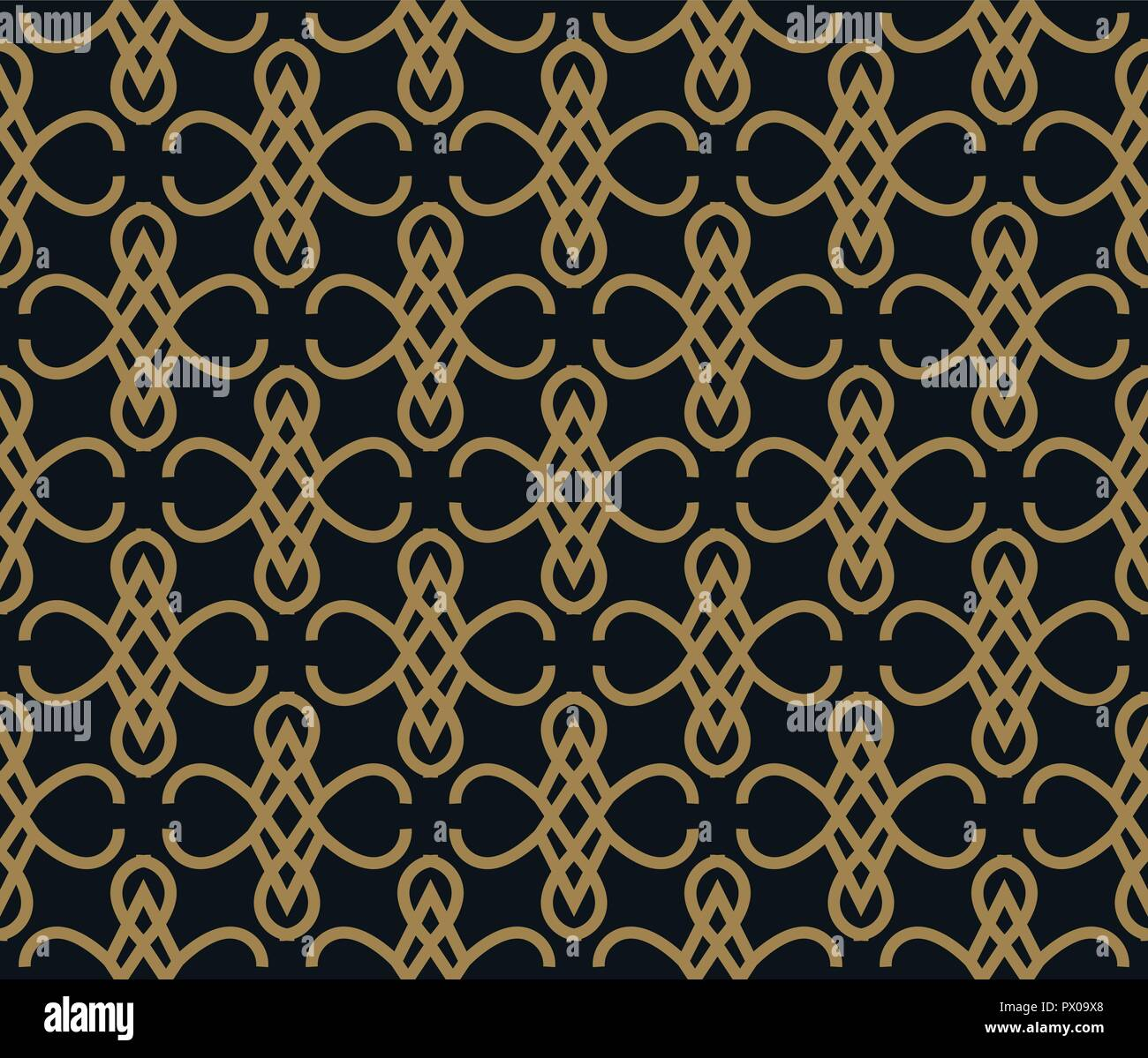 c5acf78391c9 Seamless pattern of intersecting thin gold lines on black background.  Abstract seamless ornament. -
