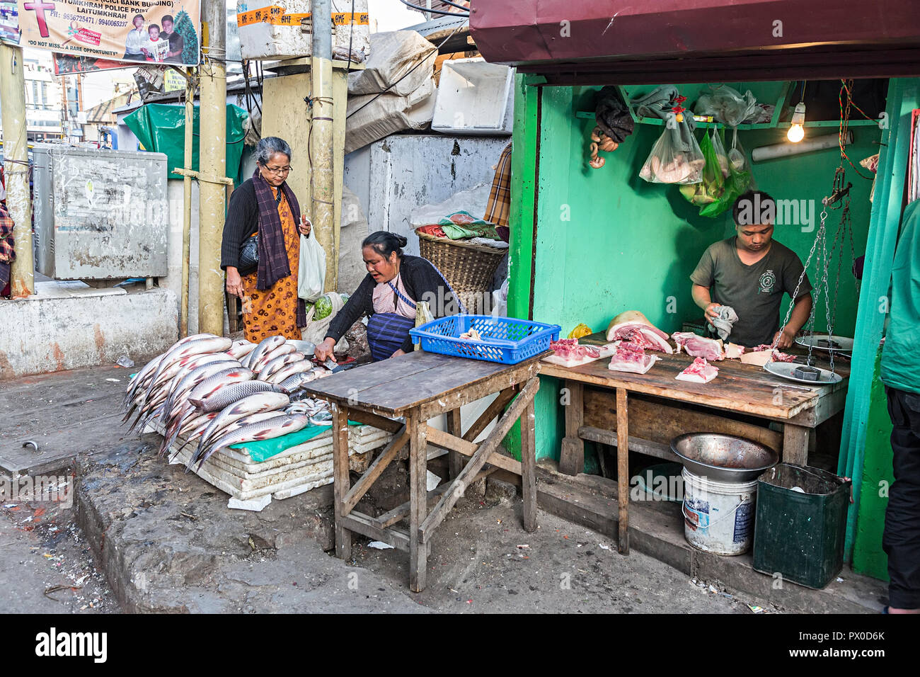 Shop selling wet fish and meat, Shillong, Meghalaya, India - Stock Image