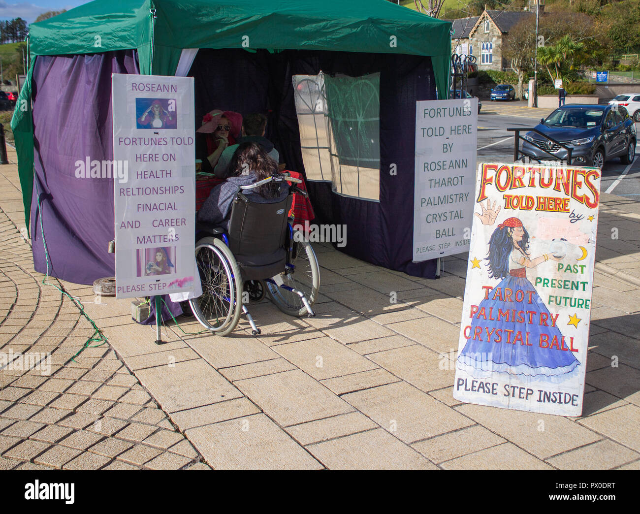 fortune teller sign next to a booth in wolf tone square bantry west cork ireland - Stock Image