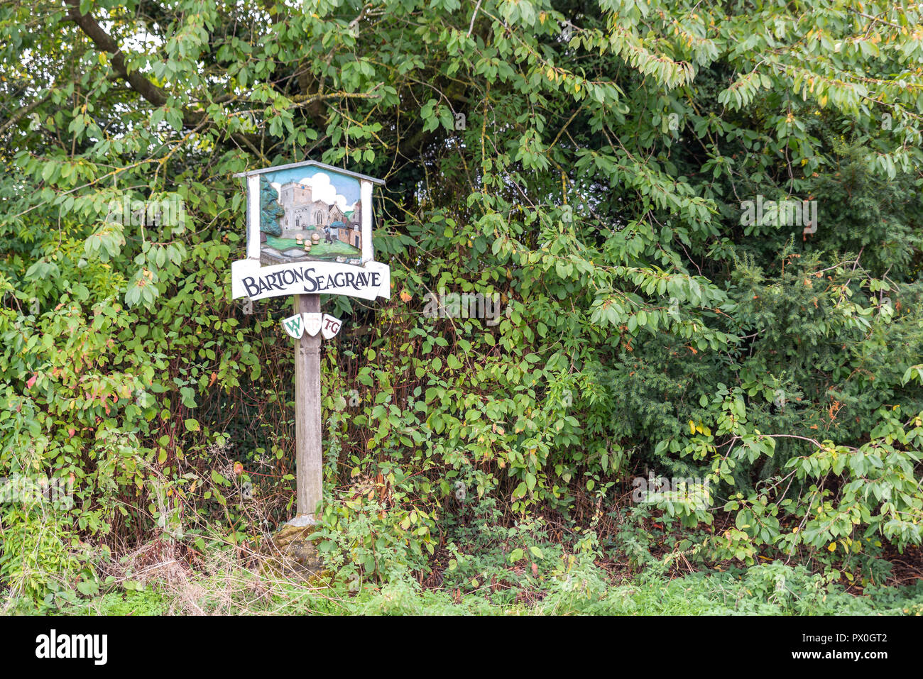 Barton Seagrave, UK - Oct 07, 2018: Day view barton seagrave village coat of arms. - Stock Image