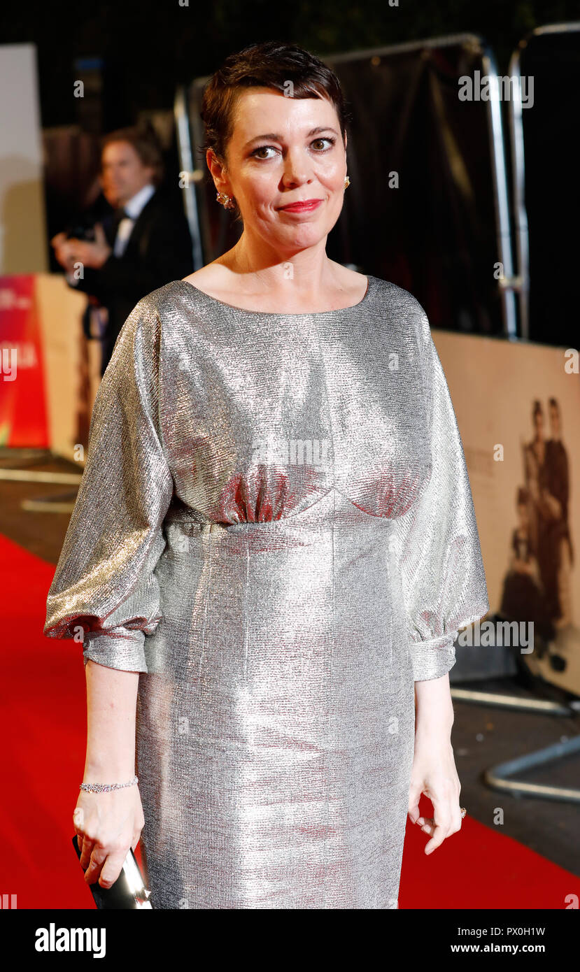 Olivia Colman attending the UK premiere of The Favourite at the BFI Southbank for the 62nd BFI London Film Festival. - Stock Image