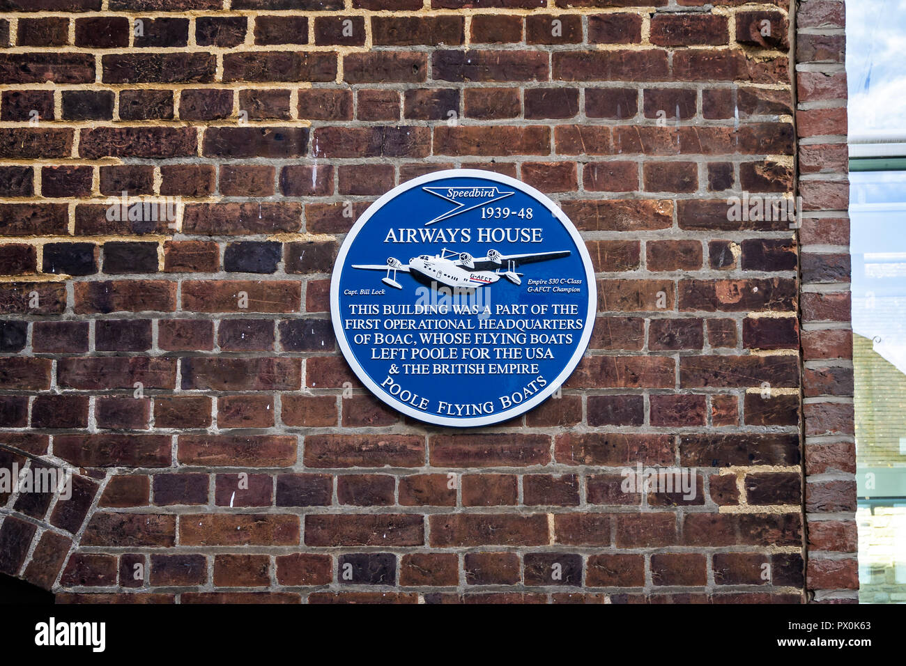 Plaque commemorating the operational HQ of BOAC's Poole Flying Boats in Poole, Dorset, UK on 18 October 2018 - Stock Image