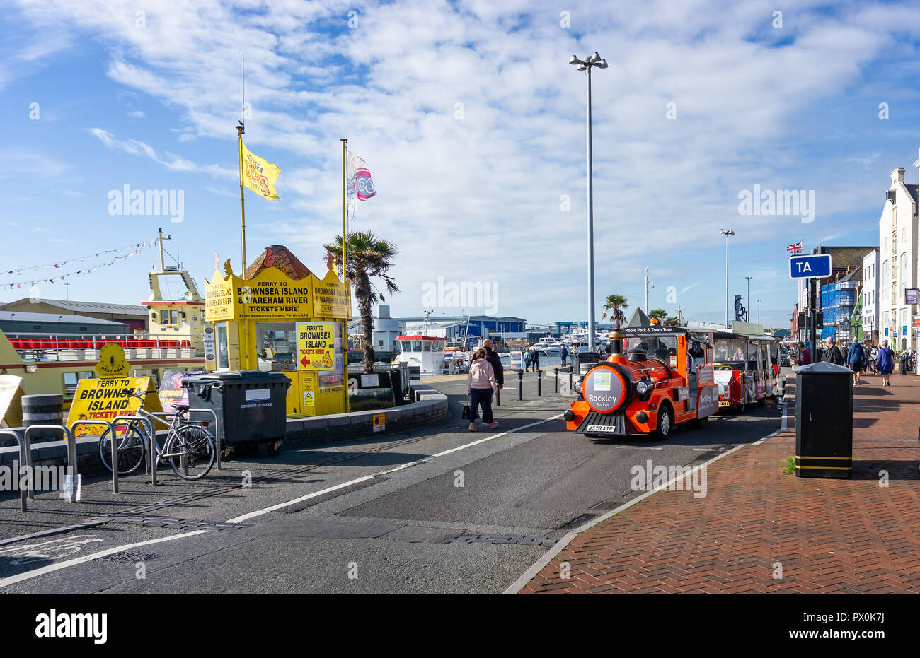 Poole tourist train in Poole Harbour, Dorset, UK on 18 October 2018 - Stock Image