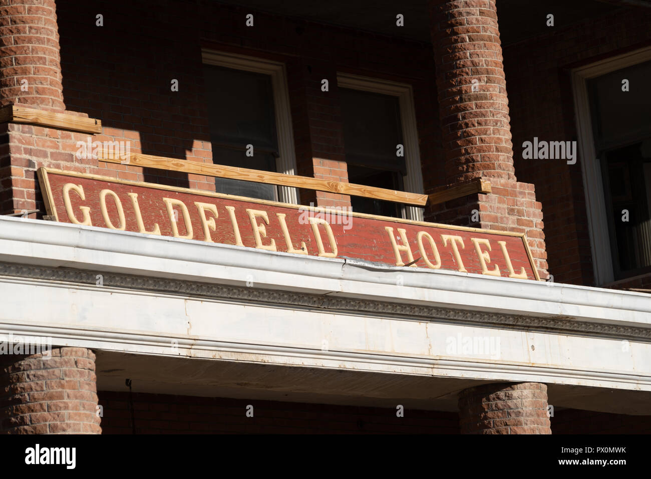 Close up of the Goldfield Hotel sign in Goldfield Nevada. The hotel is abandoned and supposedly haunted - Stock Image