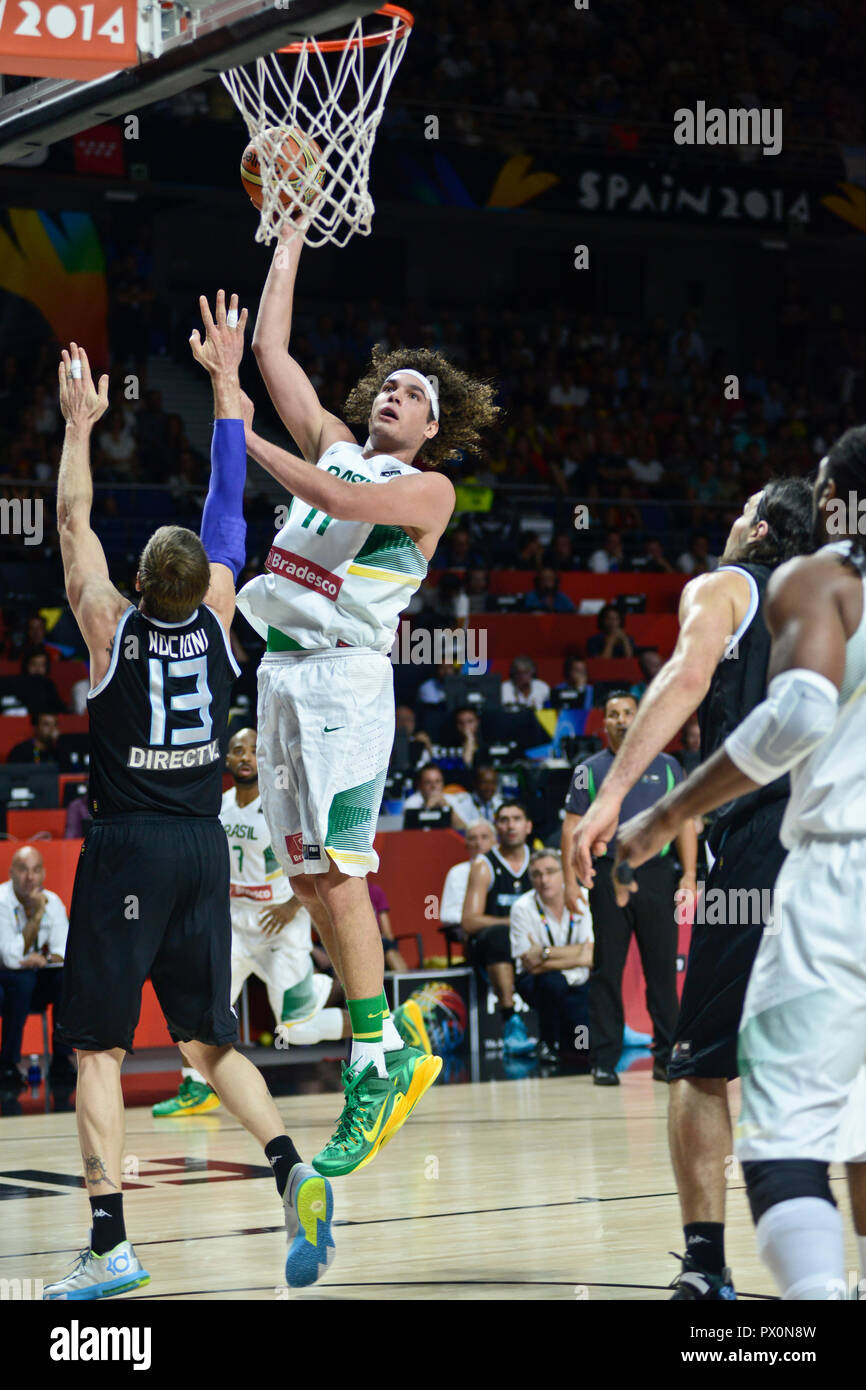 Anderson Varejao (Brazil) scoring against Argentina. Basketball World Cup Spain 2014 - Stock Image