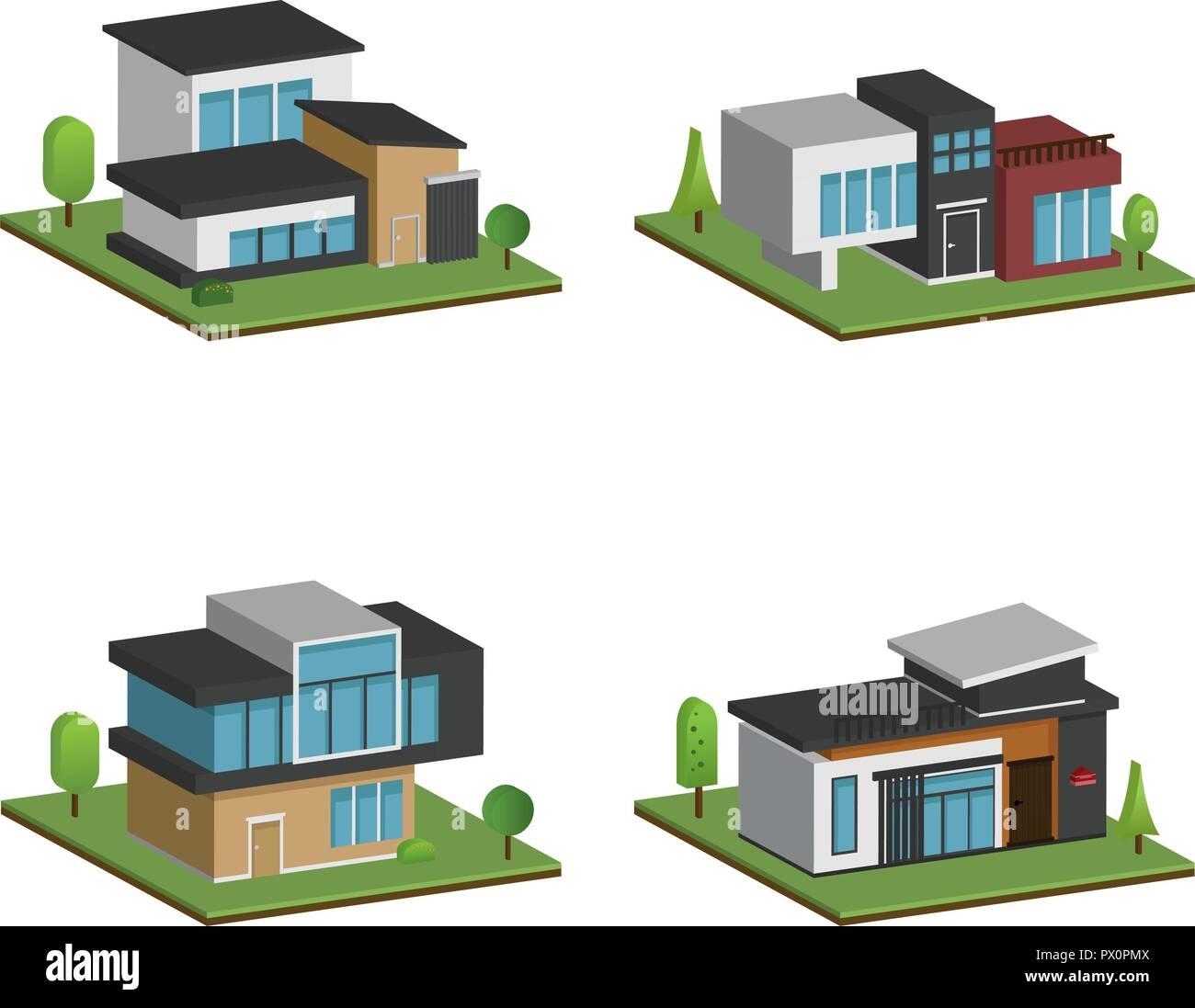 Set Of Isometric Four Houses And Modern Houses Design 3d