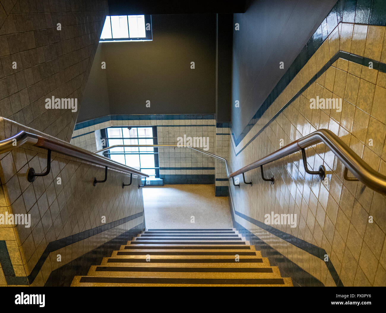 Art deco style staircase in the Gowings Building converted into the QT Hotel, Market Street Sydney NSW Australia. - Stock Image