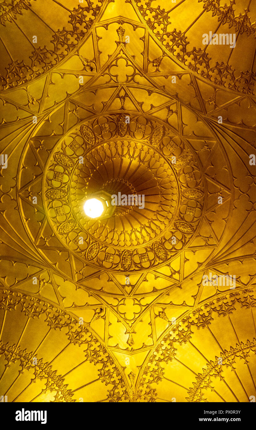 Fan vaulted ceiling of the foyer of the State Theatre Market Street Sydney NSW Australia. - Stock Image