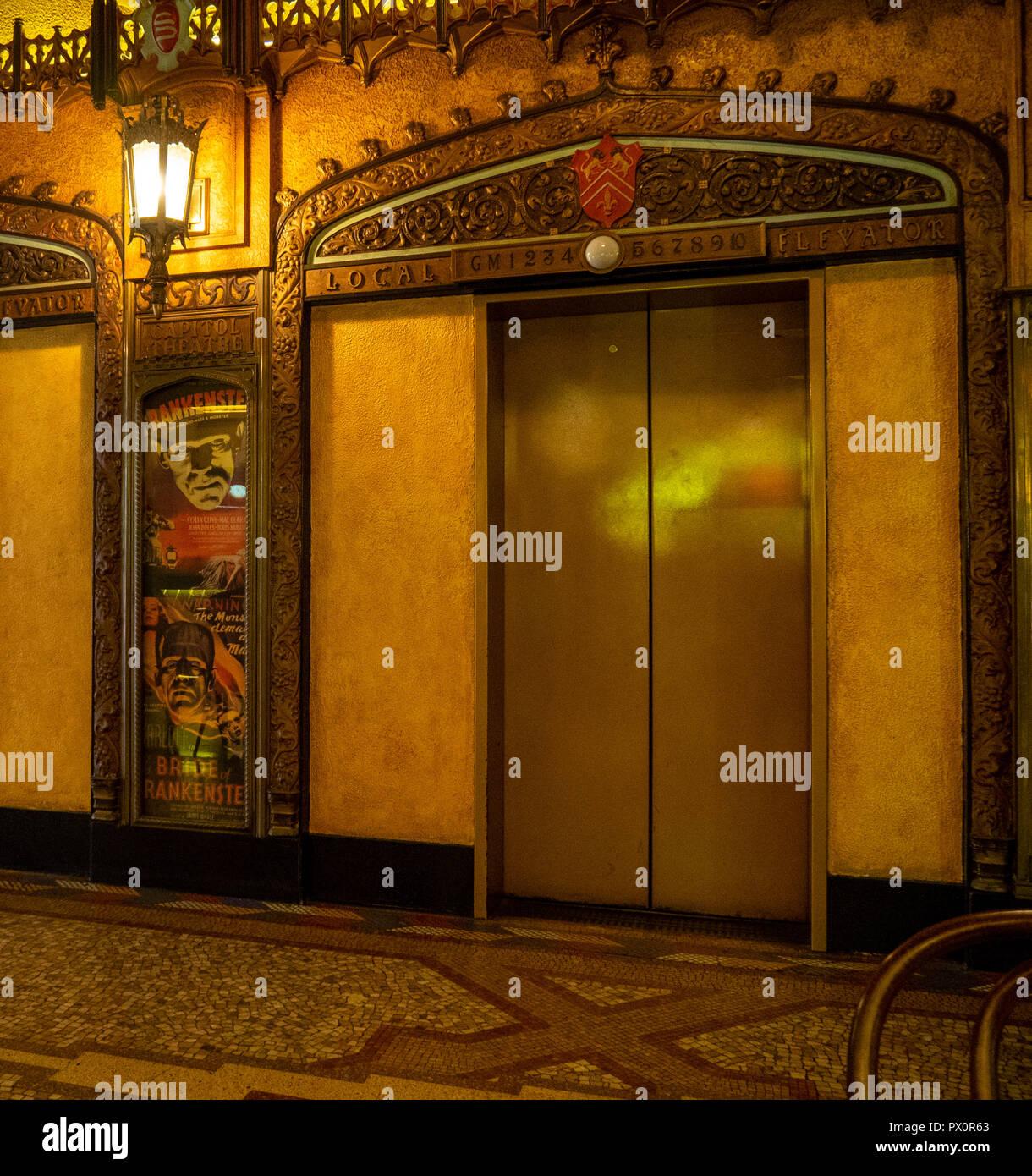 Art Deco ornate elevator in the lobby of the QT Hotel Market Street Sydney NSW Australia. - Stock Image