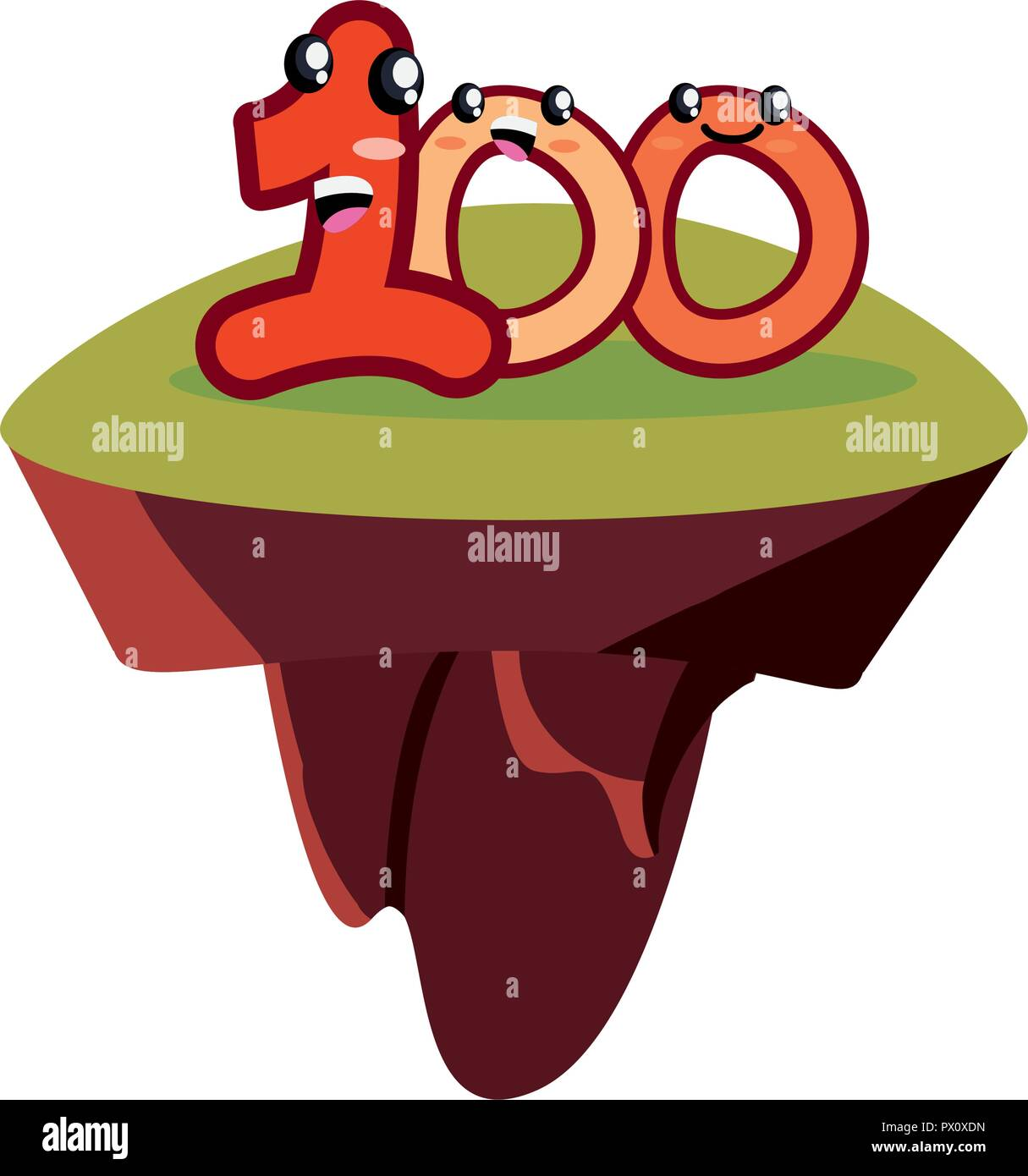 kawaii number one hundred character cartoon vector illustration - Stock Vector
