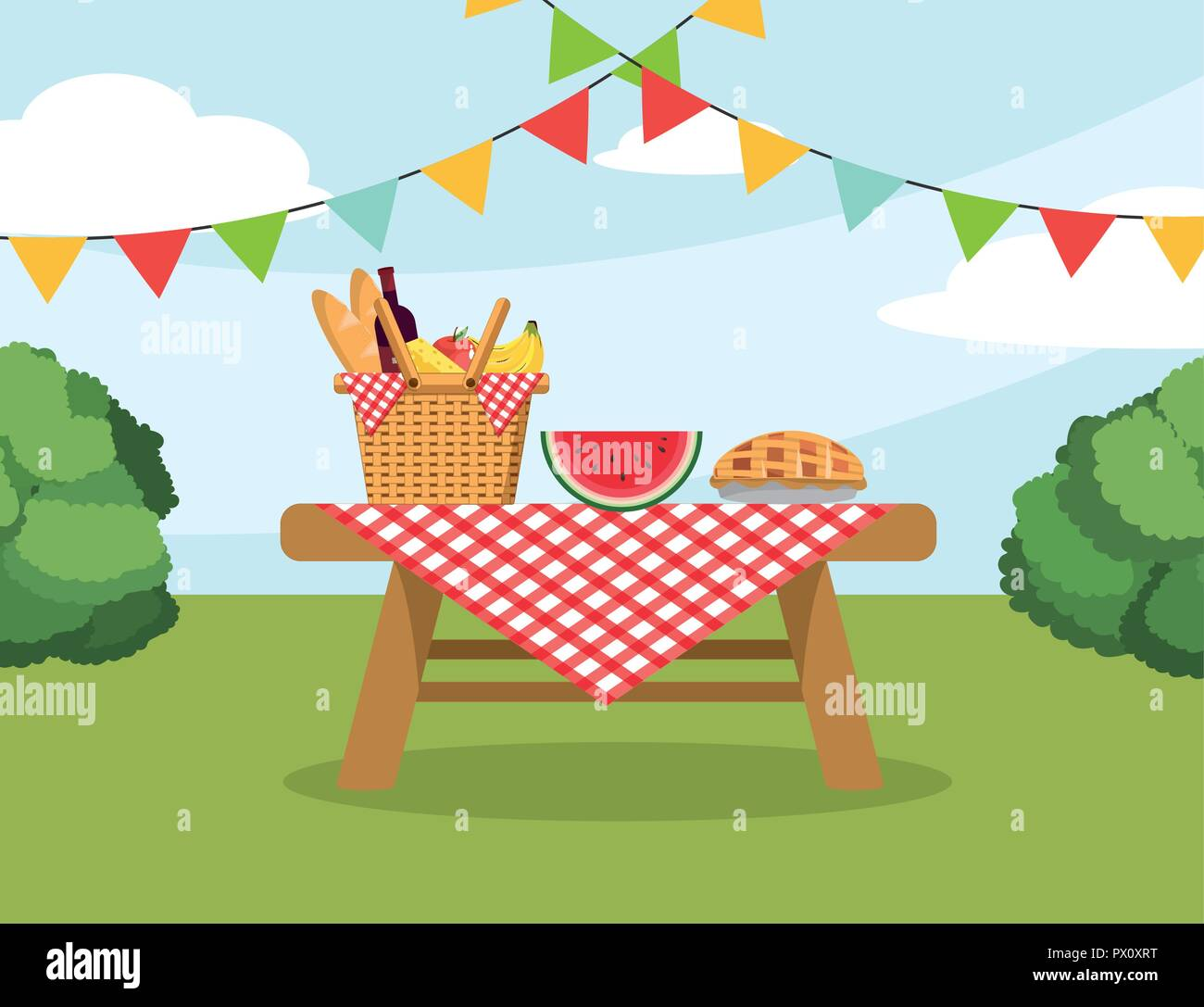 Basket With Food In The Table With Tablecloth Decoration Stock Vector Image Art Alamy