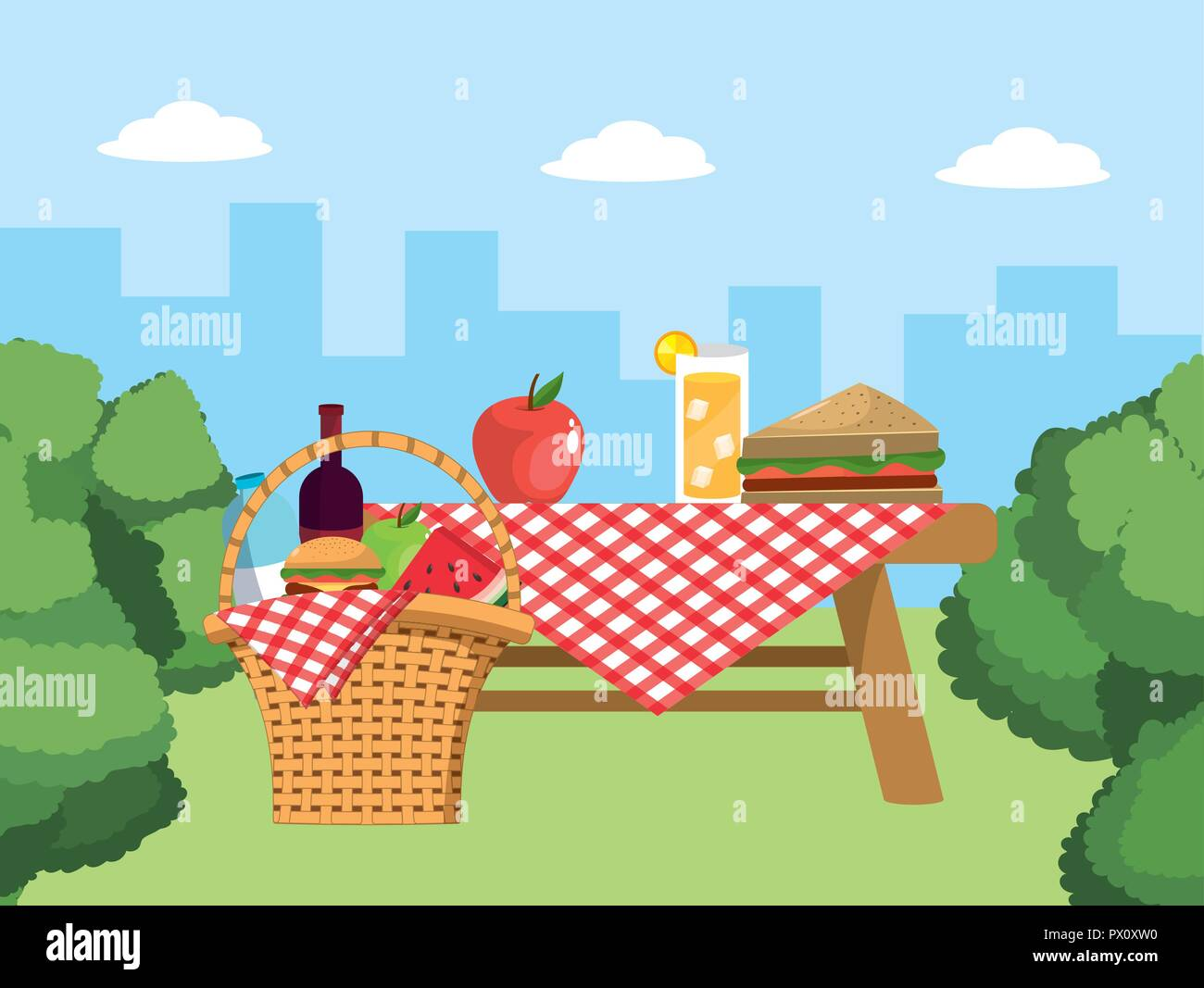 Table And Basket With Food And Tablecloth Decoration Stock Vector Image Art Alamy
