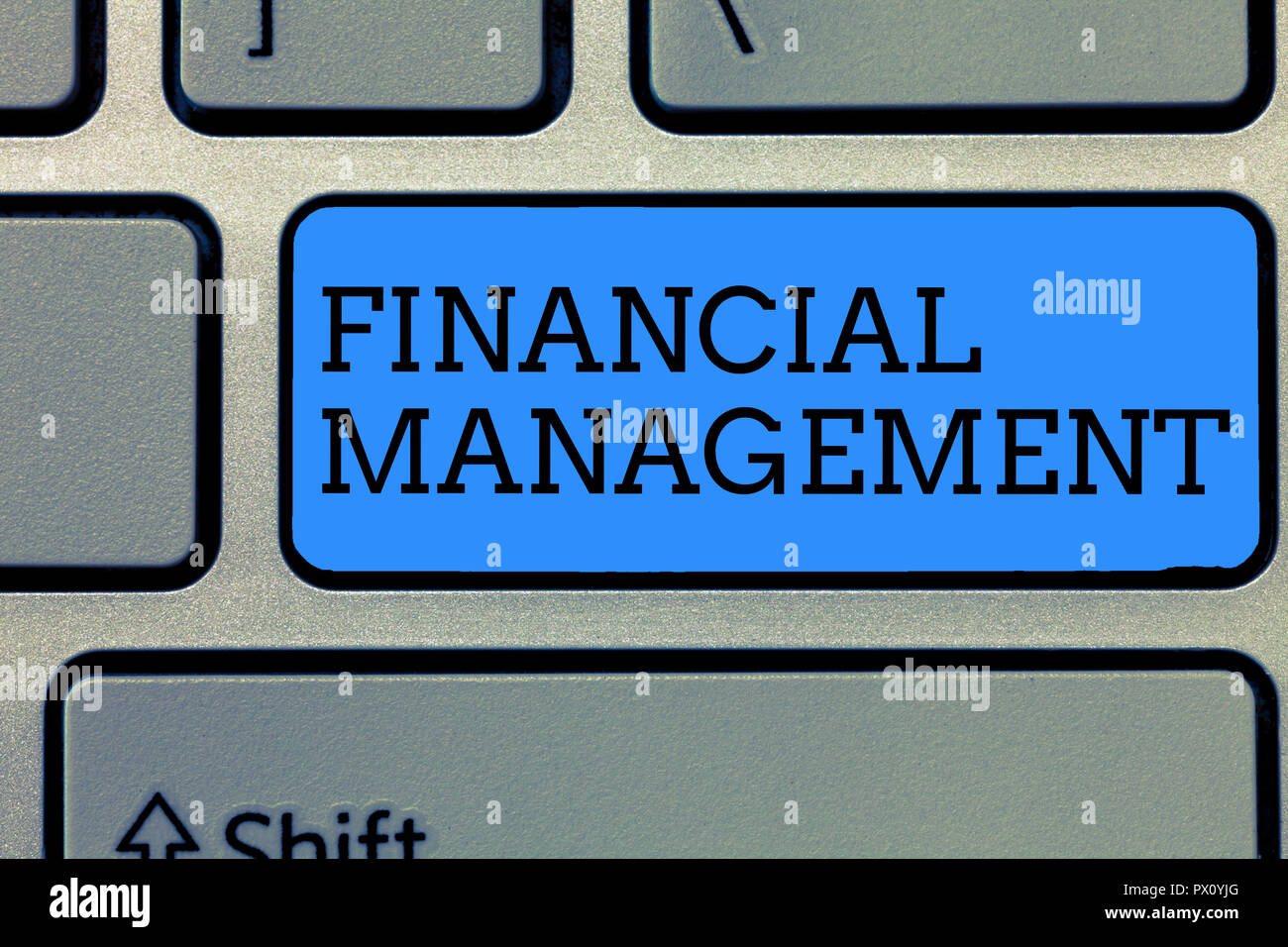 Text sign showing Financial Management. Conceptual photo efficient and effective way to Manage Money and Funds. - Stock Image