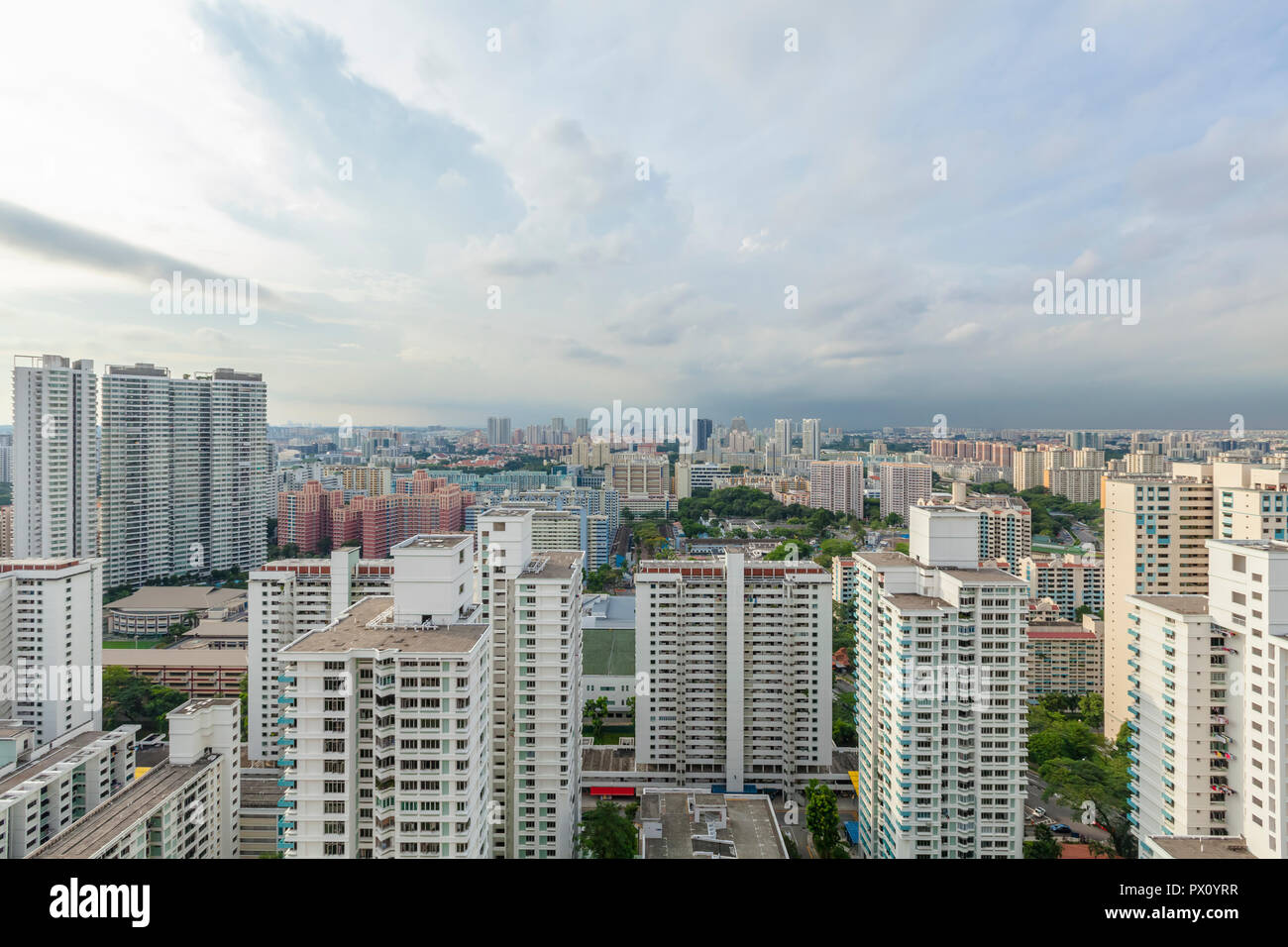 Cityscape view of HDB high-density housing blocks of Toa Payoh New Town, residential district in Singapore Stock Photo