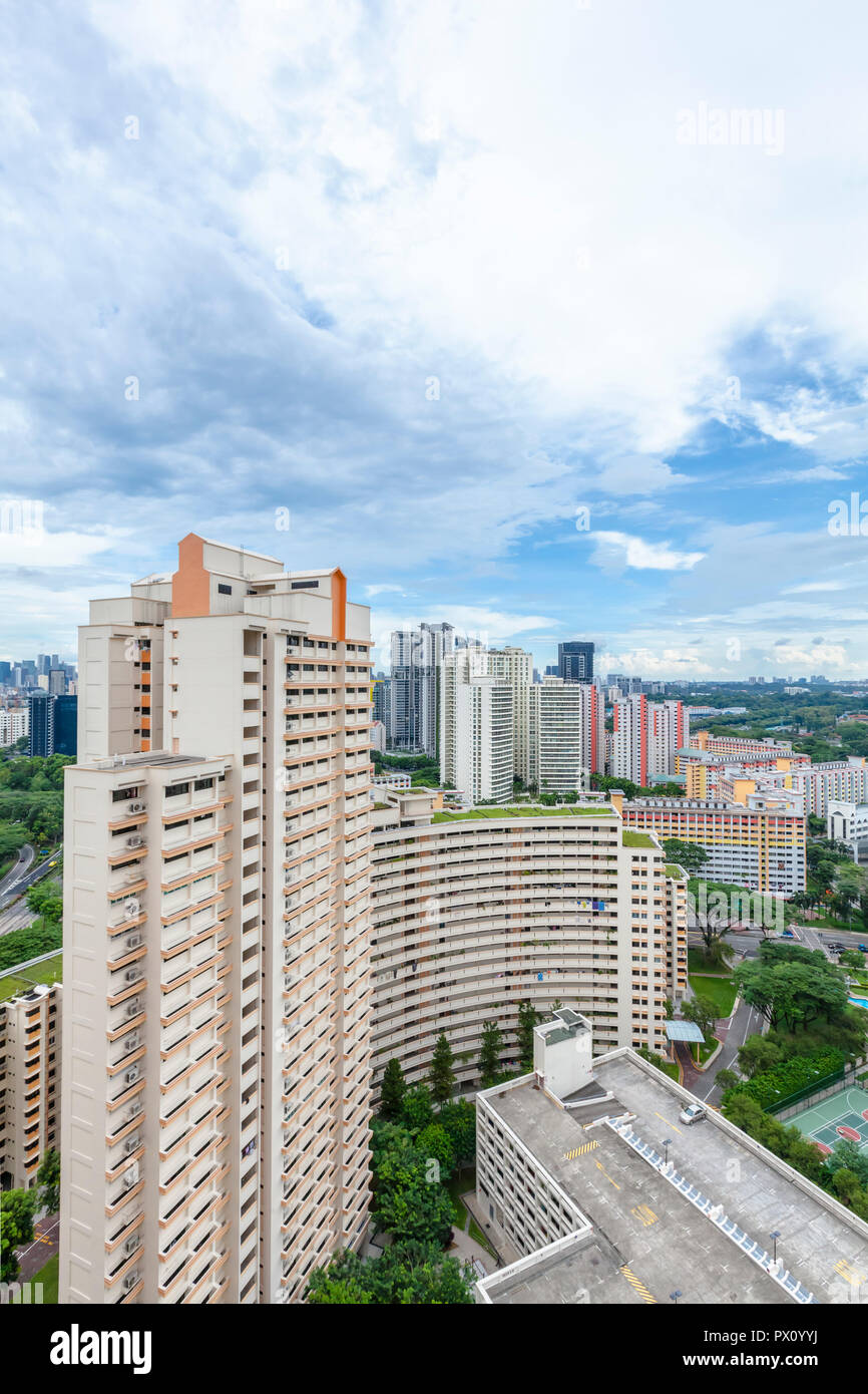 High-density HDB Public housing estate in Toa Payoh New Town, Singapore - Stock Image