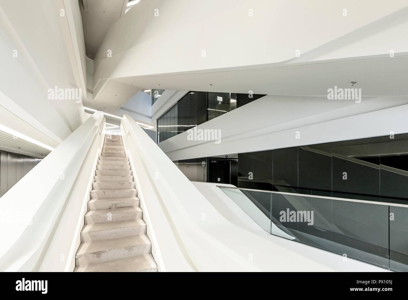 Interior view of the Jockey Club Innovation Tower, a building of the Hong Kong Polytechnic University, Hong Kong. Stock Photo