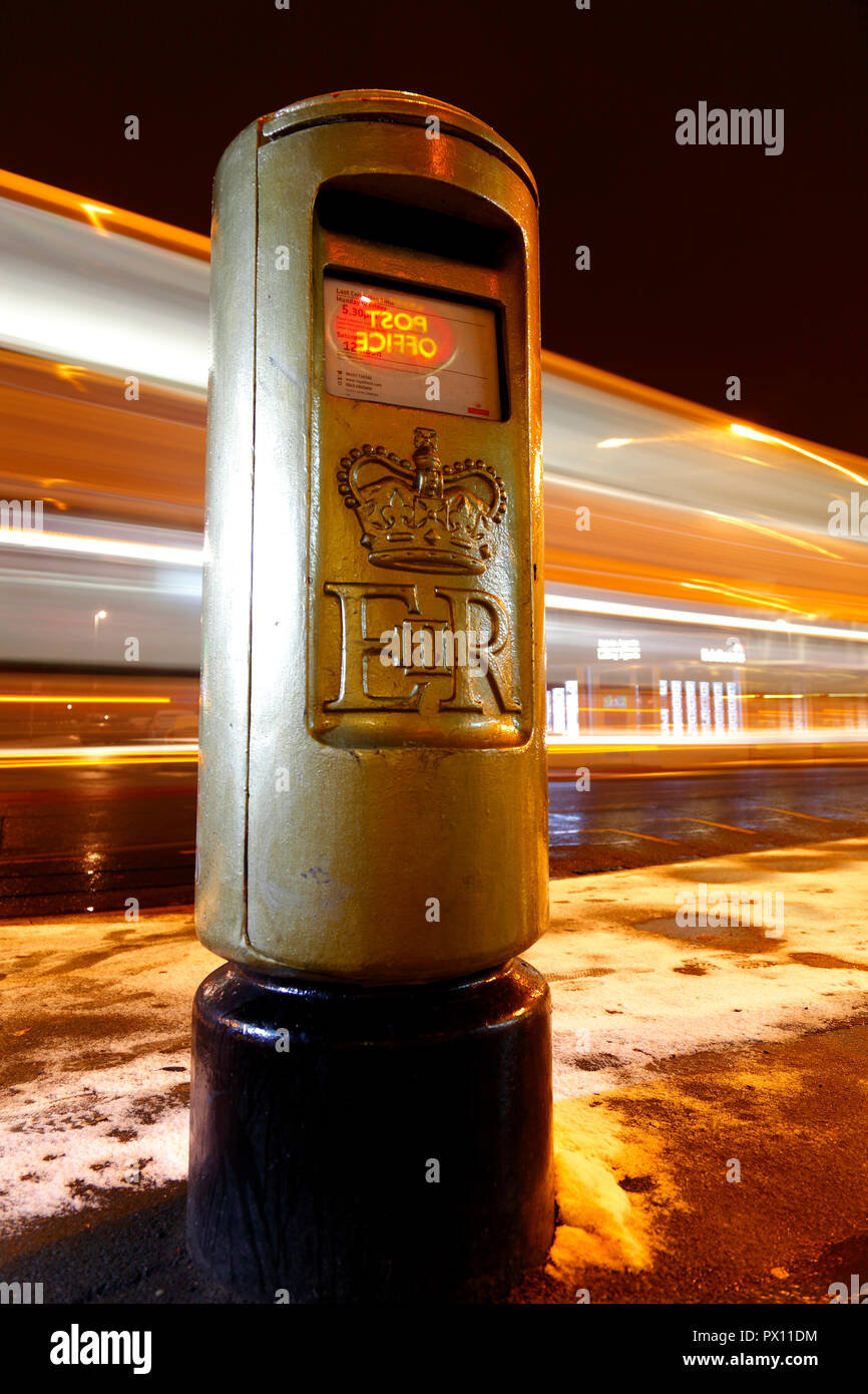 A Gold Post in Horsforth ,Leeds to  honour Alistair Brownlee for winning Gold in the triathlon at the 2012 Olympics. - Stock Image