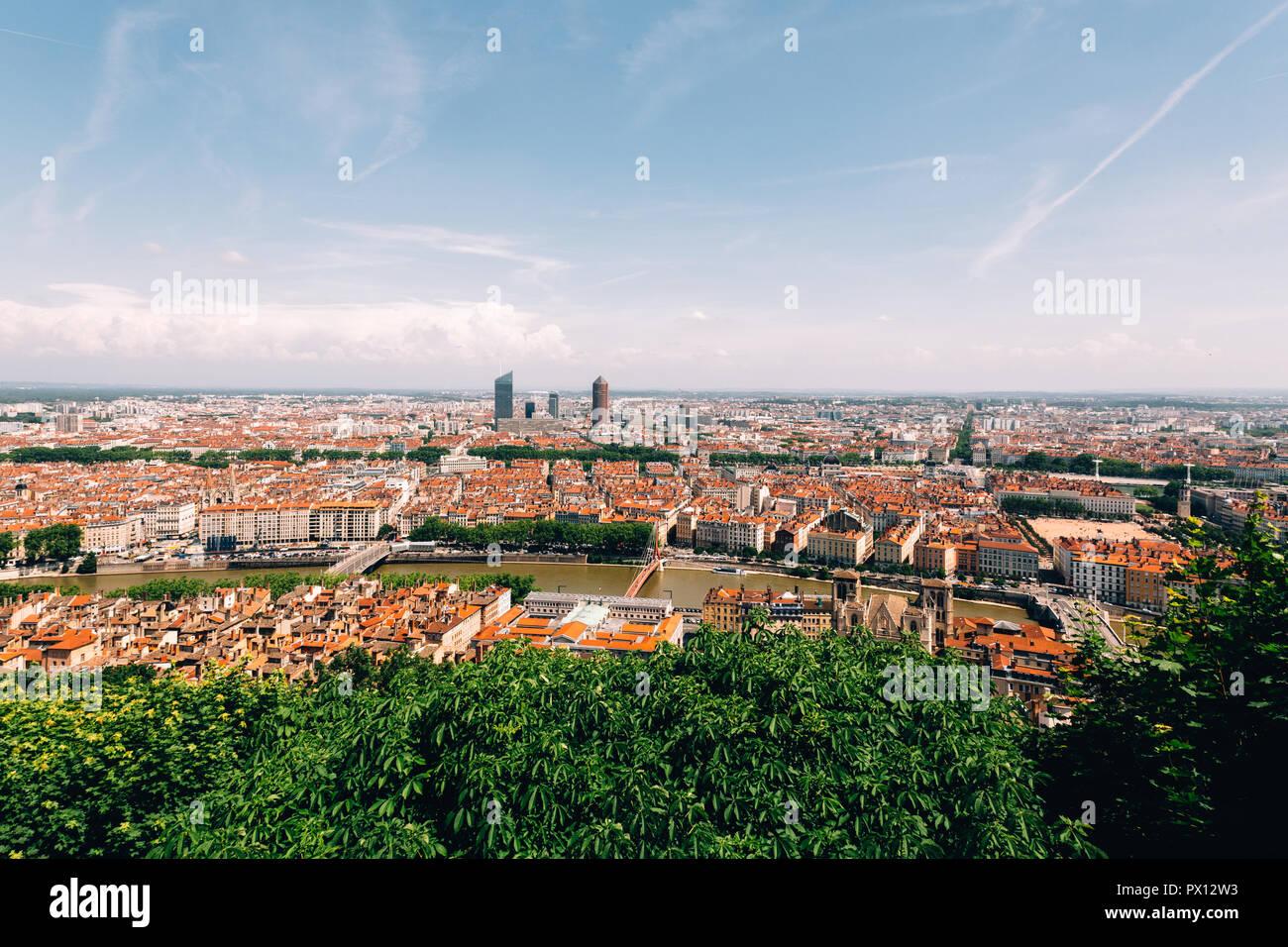 Bird's-eye panoramic view above Lyon, France, 2018 - Stock Image