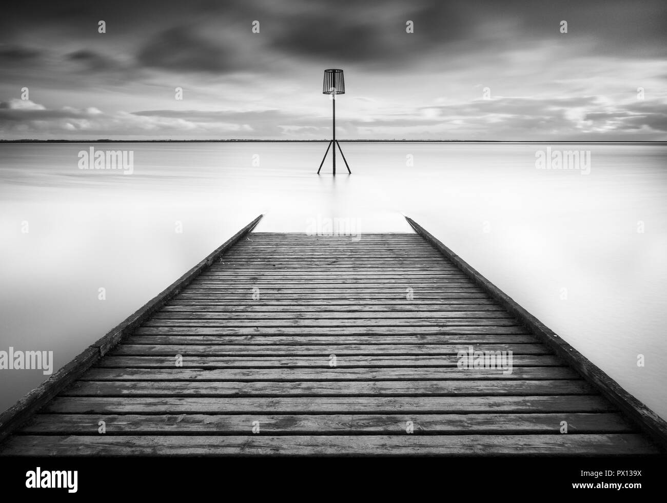 The lifeboat Jetty at Lytham on the Lancashire coast in the north of England - Stock Image