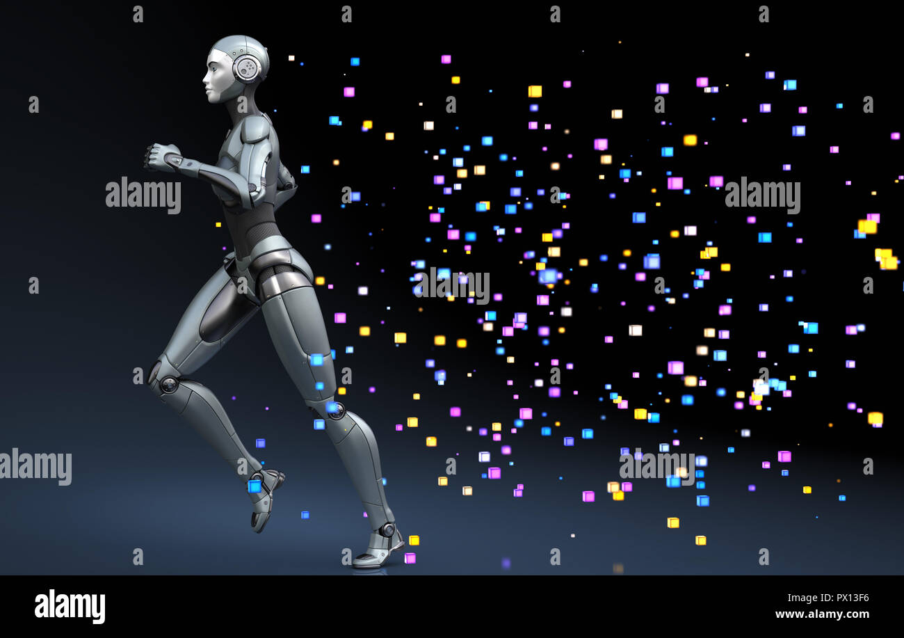 Running robot leaving a trace of pixels. 3D illustration - Stock Image