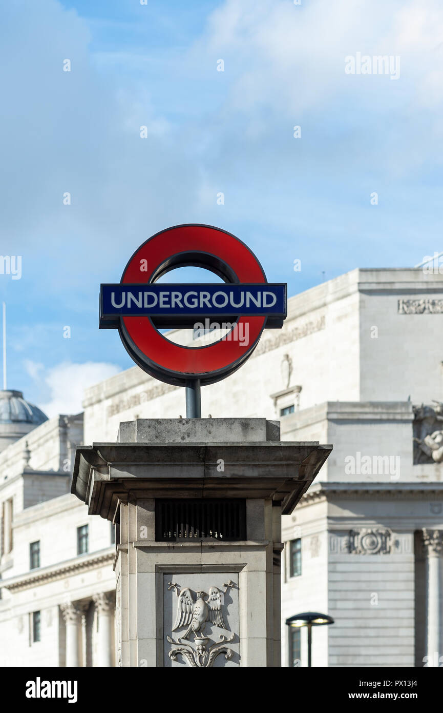 London Underground sign at Bank station, London. - Stock Image