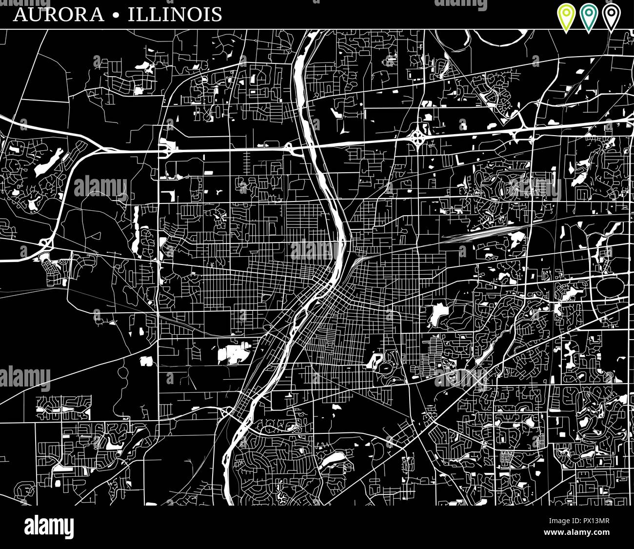 Simple Map Of Aurora Illinois Usa Black And White Version For