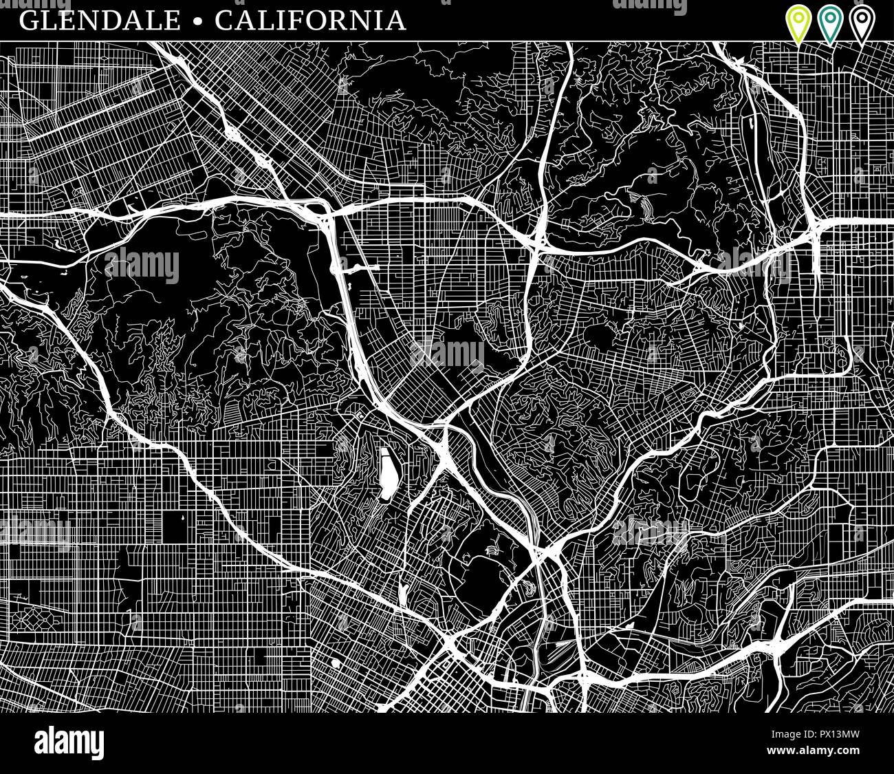Simple map of Glendale, California, USA. Black and white version for ...