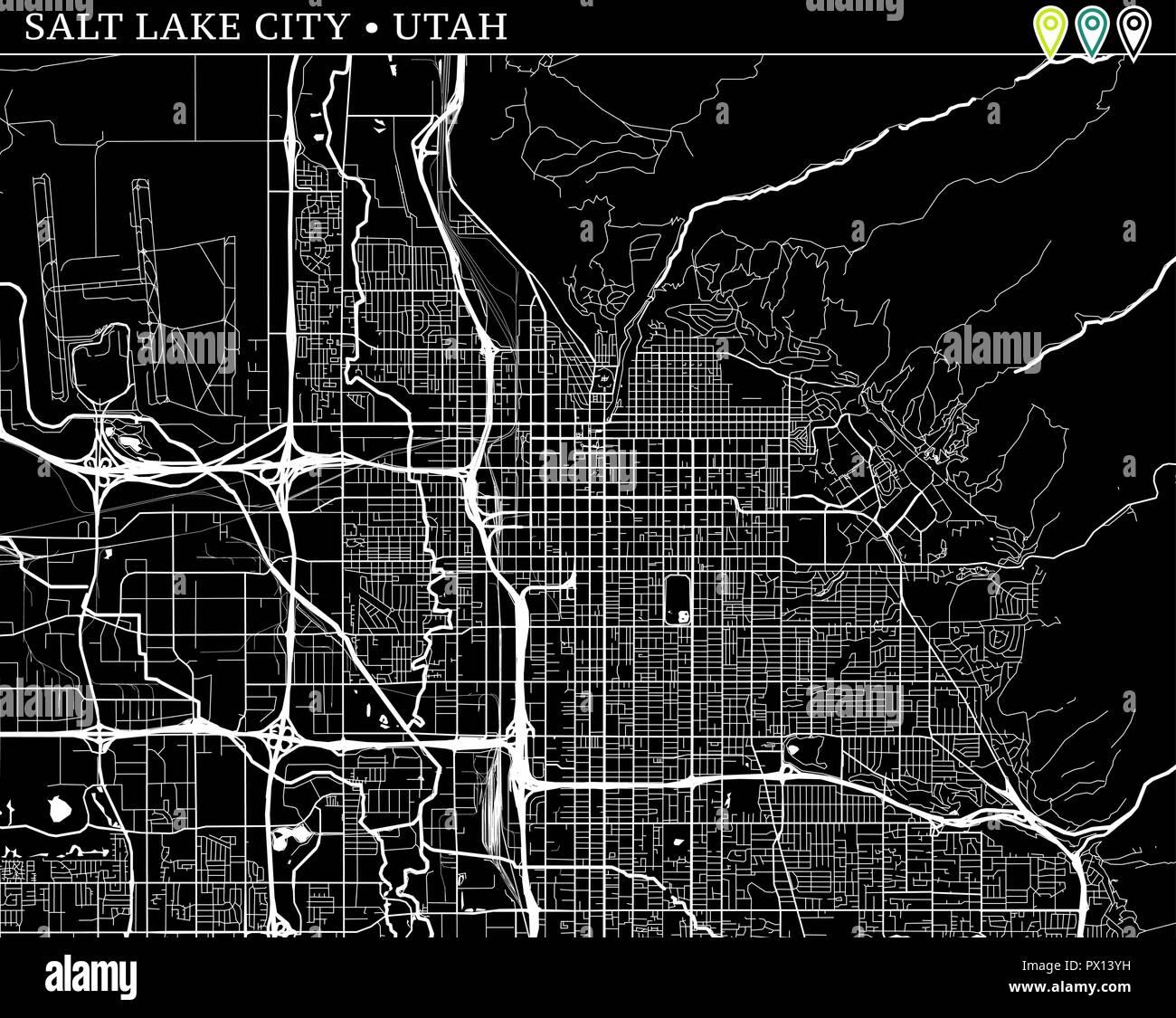Simple map of Salt Lake City, Utah, USA. Black and white ... on ogden utah map usa, vernal utah map usa, kansas city kansas map usa,