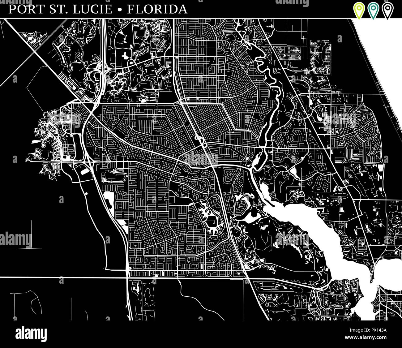 Map Of Port St Lucie Florida.Simple Map Of Port St Lucie Florida Usa Black And White Version