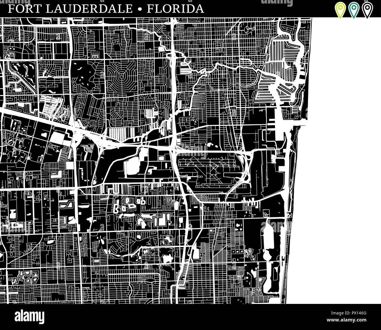 Map Of Fort Lauderdale Florida.Simple Map Of Fort Lauderdale Florida Usa Black And White Version