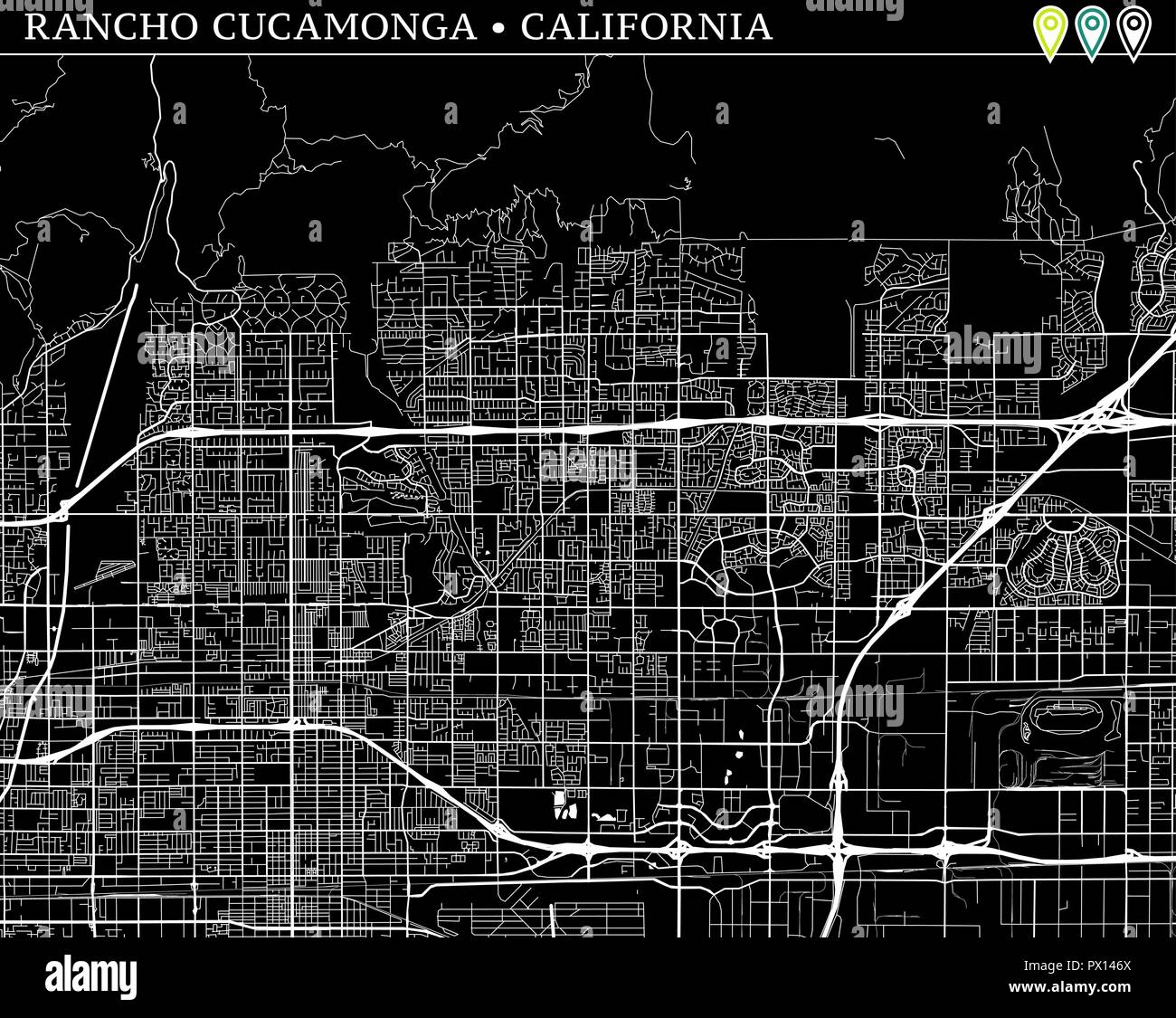 Cucamonga California Map.Simple Map Of Rancho Cucamonga California Usa Black And White