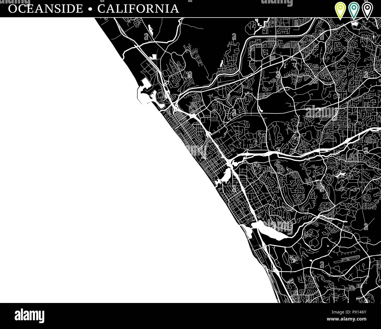 Simple map of Oceanside, California, USA. Black and white ...