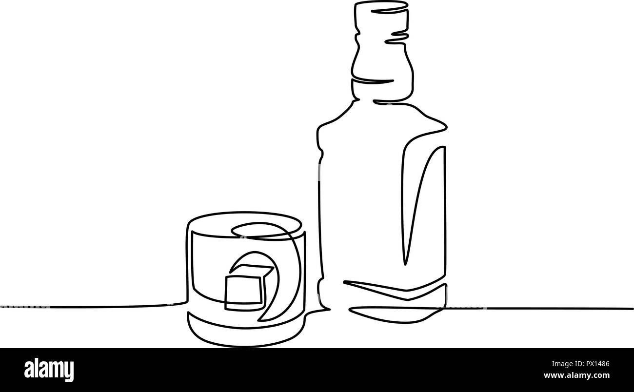 Continuous one line drawing. Bottle and glass of whiskey with ice. Vector illustration Stock Vector