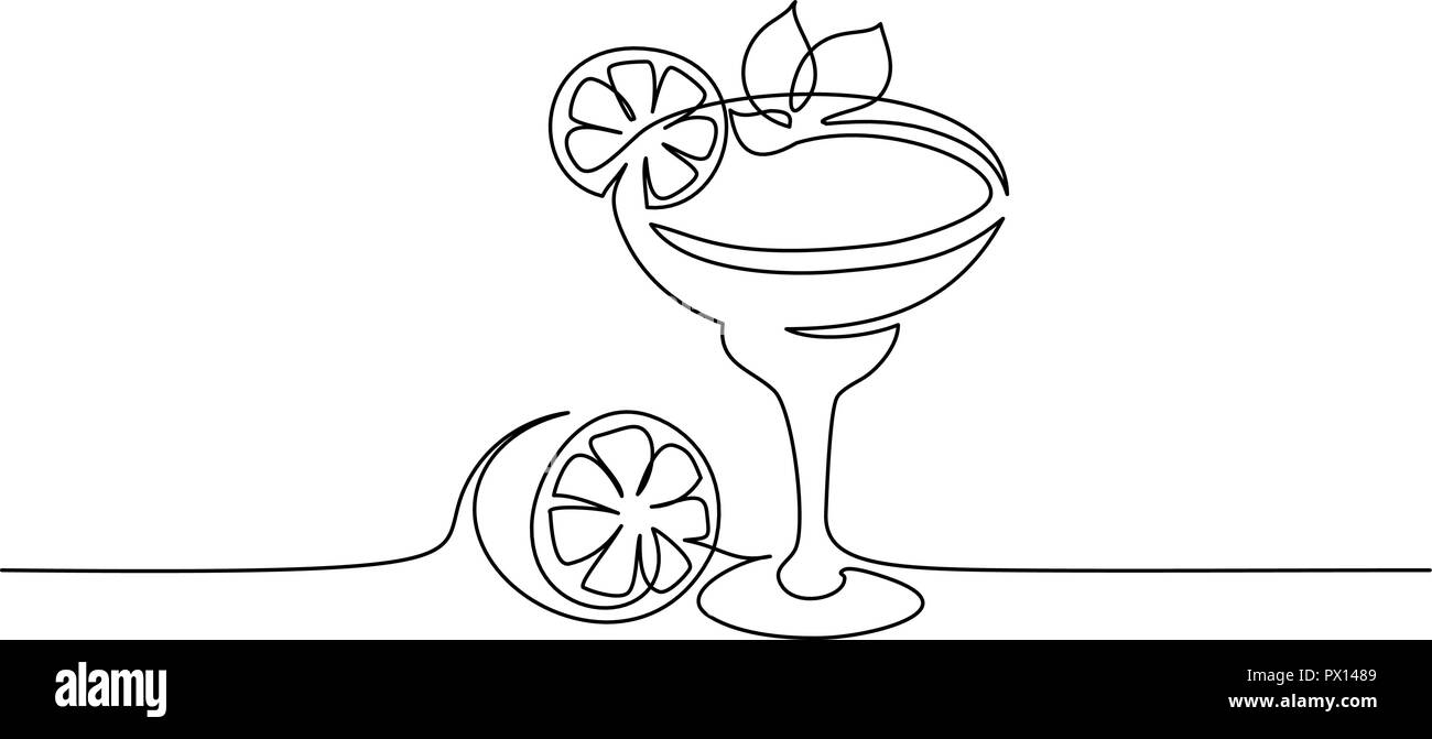 Continuous one line drawing. Cocktail margarita with lime and mint leaf. Vector illustration Stock Vector